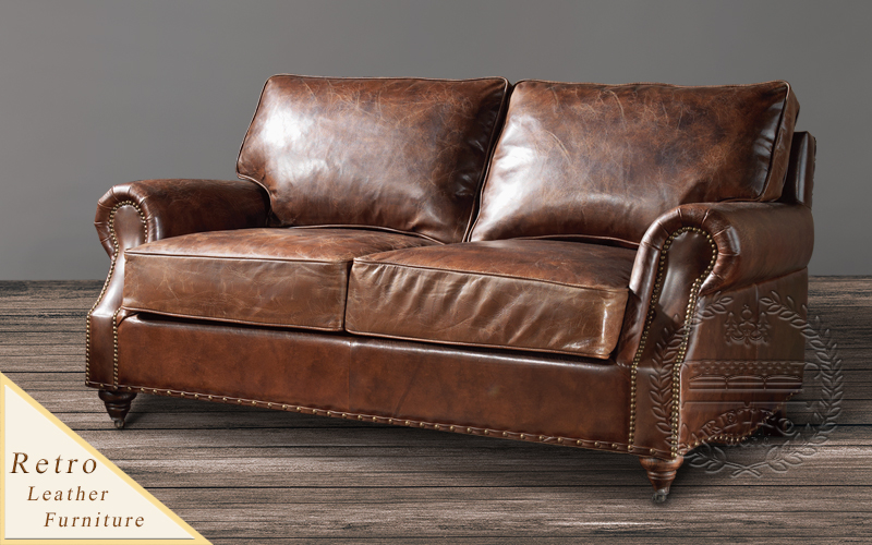 Distressed Tan Leather Sofa