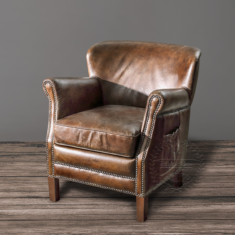 Old Leather Armchair,Retro Leather Armchair,Retro style ...