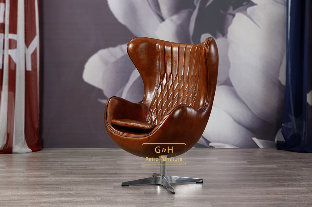 vintage leather egg chair